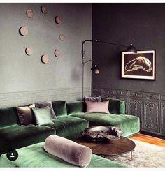 "588 oznaka ""sviđa mi se"", 2 komentara – Home Decor (@innerdecor) na Instagramu: ""#Livingroom #ModularSofa #Grey #Green #Velvet #Cushions"""