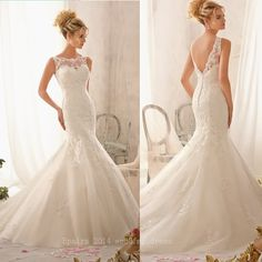 Elegant Spaghetti Strap High Neck Low Back Lace Appliqued on Silky ...