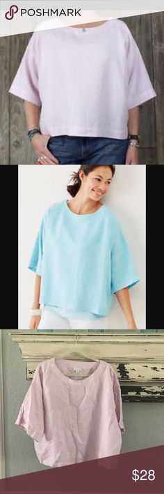 Pure J Jill linen boxy top Great preowned condition! Love this boxy loose fit casual linen top.  Pair with jeans, leggings and you look super cute.  The blue top is factory pic for pic.  I'm selling the pinkish /purplish one.very similar to Eileen Fisher and ace and jig J. Jill Tops