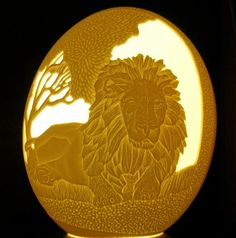 Carved and Sculpted Ostrich Egg Shell King of the by 1eggman, $200.00
