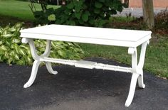 vintage shabby chic white coffee table/french by missrobinsnest