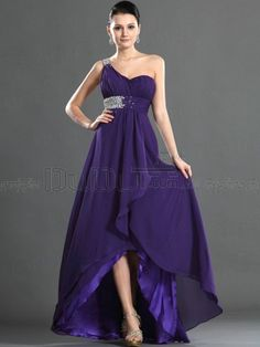 Sheath/Column Chiffon One shoulder Slender Tea-length Beading Drape Prom/Evening Dresses With Sweep Train, Prom Dresses, Evening Dresses