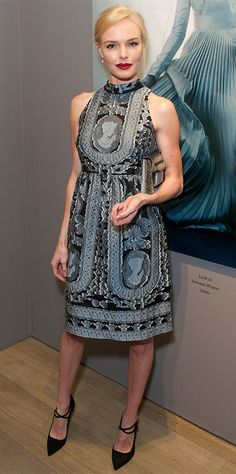 Kate Bosworth hit the Erdem 10 Year Anniversary Party and celebrated in a pale blue-and-black Victorian-inspired Erdem number that she accessorized with tiny drop earrings, a gunmetal Mary Katrantzou clutch, and strappy black pumps.