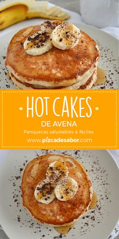 Hot oatmeal cakes (healthy & easy pancakes)-Hot cakes de avena (panquecas saludables & fáciles) Hot oatmeal cakes (healthy and easy-to-make pancakes) - Healthy Recipes, Healthy Breakfast Recipes, Gourmet Recipes, Healthy Snacks, Cooking Recipes, Oatmeal Cake, Oatmeal Pancakes, Vegan Pancakes, Food Porn
