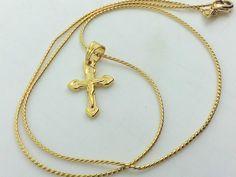 Collana Ciondolo Croce Oro con Cristo Uomo Donna Crocifisso Gioielli Unisex
