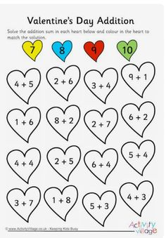 This Valentine's Day addition worksheet gives children practice on simple single digit addition sums. Subtraction Worksheets, Addition Worksheets, Kindergarten Math Worksheets, Preschool Learning, Teaching Math, Math Activities, Valentine Activities, Homeschool Math, First Grade Math