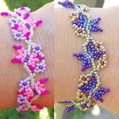 Flutterbies beading tutorial. A pdf tutorial for making fluttering butterflies and Spring flowers that are interwoven in a lively, carefree dance!  The main pattern is for a bracelet but can be made to any length and in an endless combination of colors. Get creative and substitute any 4mm bead for the daisy units for a whole new look!