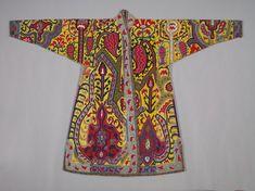 Embroidered Surcoat, Khalat, 1800s Uzbekistan, Shahr-i Sabz, 19th century silk; cross-stitch, embroidery, Overall - h:150.00 w:218.40 cm | Cleveland Museum of Art