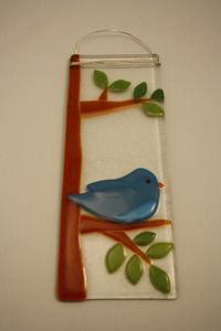 Fused glass bird wall hanging by Bonnie Doone Glass. American Made. 2013 Buyers Market of American Craft. americanmadeshow.com