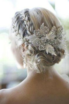jewels, white, flower, prom, hair, hair accessory, hair accessories, rhinestones, bridal, wedding, bride, updo, braids, bun, accessory - Wheretoget