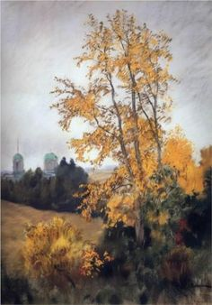Autumn landscape with church - Isaac Levitan