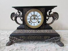 Antique circa 1885 Ansonia Iron Mantel Clock BELGIUM w Open Escapement, all orig
