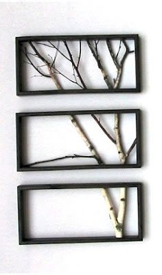 Arrange cut branches in coordinating frames to make art