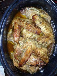 turkey wings 1 bottle zesty Italian dressing Lawry's seasoning salt Black pepper Roasting pan by julie Turkey Dishes, Turkey Recipes, Meat Recipes, Cooking Recipes, Oxtail Recipes, Recipies, Soul Food Recipes, Sweetie Pies Recipes, Pork Rib Recipes