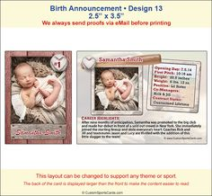Trading Cards Birth Announcements Sample 5 http://www ...