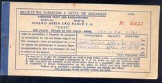 Bilhete Passagem Aérea Antigo Vasp Viação São Paulo 1962 - R$ 40,00 no MercadoLivre
