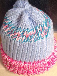 Light Blue/Pink Loom Knit Hat, Adult Size. $15
