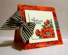 CC634 - WATERMELON POSIES by Karen B Barber - Cards and Paper Crafts at Splitcoaststampers