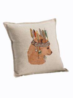 {perfect pillow for the little bear cub} PENDLETON BEAR PORTRAIT LINEN PILLOW