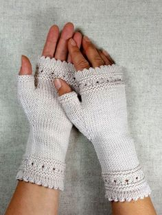 Fingerless gloves with pearls - frost paws - arm warmers and knot pockets Fingerless gauntlets for women, knitted hand warmers with pearls made of wool (organic merino), noble fingerless gloves,. Crochet Gloves Pattern, Mittens Pattern, Knit Mittens, Knitted Gloves, Knitting Patterns, Knit Crochet, Mens Knitted Scarf, Knitted Headband, Leg Warmers For Women