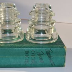 Bookends Vintage Clear Glass Insulators by JudysJunktion on Etsy, $15.00