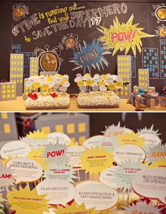 Its a SuperHero Wedding but the backdrop on chalkboard can be easily recreated for kids bdays
