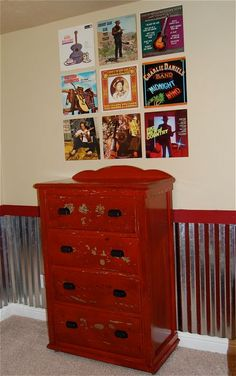 I like the idea tin for below a chair rail in a boys room, and putting up vintage records on the wall. Red, not so much.