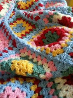 Cath Kidson colours crochet granny square blanket
