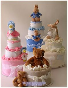 Selection of our beautiful Baby Cakes (Nappy Cakes) Dipper Cakes, Baby Shower Gifts, Baby Gifts, Pamper Cake, Baby Bouquet, Towel Animals, Towel Cakes, Nappy Cakes, Great Gifts For Mom