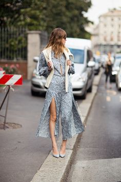 Pastel pretty in Paris - Blue floral peephole dress - Cream knit #streetstyle #spring fashion
