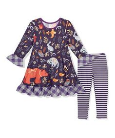 Look at this #zulilyfind! Eggplant Animals Ruffle Trim Shift Dress& Leggings - Girls #zulilyfinds