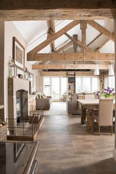 extension-with-vaulted-ceiling-and-exposed-oak-trusses. Kitchen looking into open plan living Vaulted Ceiling Kitchen, Open Ceiling, Vaulted Ceilings, Kitchen With Vaulted Ceiling, Vaulted Ceiling Lighting, Open Plan Kitchen Dining Living, Open Plan Living, Kitchen Living Rooms, Open Plan House