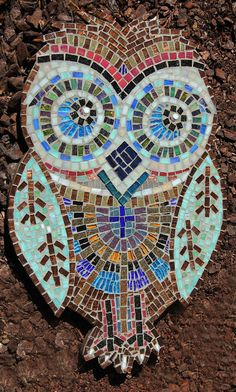 Rotorua Artist Janet Keen Art, Writing, Teaching, Photography and Mosaics: Mosaic Owl ( Morepork) for the garden, exhibiting at Third Place Cafe, Lake Road, Rotorua.