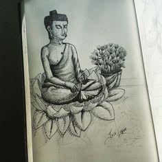 Buda, CEBB, Curitiba. Ink. #art #budda #buda #Buddhism #ink