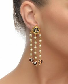 Floral Golden Earrings with Enamel Work