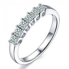 1 Carat Six Stone Princess Diamond Wedding Ring Band in White Gold