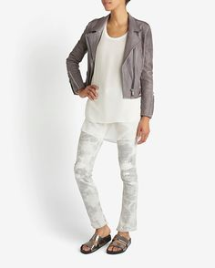 Barbara Bui EXCLUSIVE Studded Leather Moto Jacket: Grey | Shop IntermixOnline.com