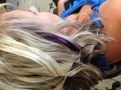 Blonde highlights with purple accent
