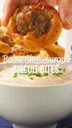 Bacon Cheeseburger Biscuit Bites with Pub Sauce - seriously delicious! Bacon cheeseburger meatballs baked in mini biscuit cups. Great for parties, lunch or dinner. Cheese Burger Soup Recipes, Burger Toppings, Appetizer Recipes, Beef Recipes, Cooking Recipes, Meatball Recipes, Bacon Cheeseburger Dip, Slow Cooker Bacon, Dinner With Ground Beef