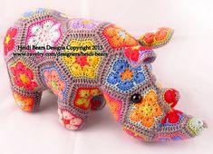Thandi Afrikanische Blume-Rhino Häkelanl... von heidibears auf Etsy