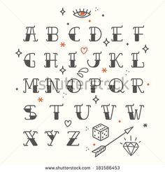 Sailor's Diamond Tattoo Font Alphabet - Print Art Print by ...