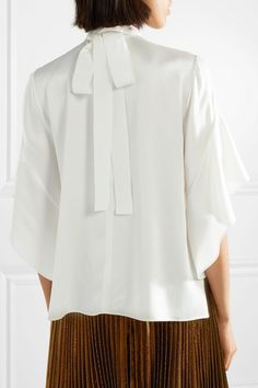 White washed-satin Slips on 80% acetate, 20% viscose; trim: 60% viscose, 40% cotton Dry clean Made in Italy