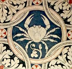 Cancer - Zodiac tiles on the nave floor, Saint Denis Cathedral, Paris. Our post about the history of Zodiac depictions in the cathedral: http://www.chartofthemoment.com/history-and-art/the-zodiac-in-mediaeval-architecture/saint-denis-cathedral/