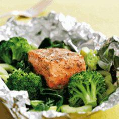 Laksepakker med sennep og broccoli opskrift