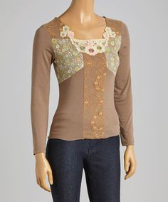 Another great find on #zulily! Taupe Floral Square Neck Top by Young Essence #zulilyfinds
