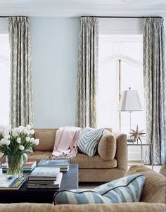 Pale blue and blush pink accents in living room