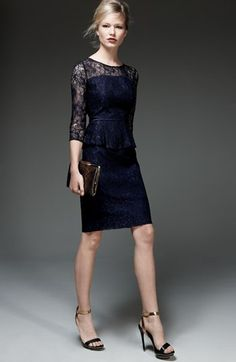 gorgeous peplum lace sheath dress