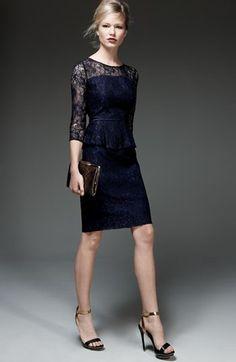 Adrianna Papell Peplum Lace Sheath Dress | Nordstrom