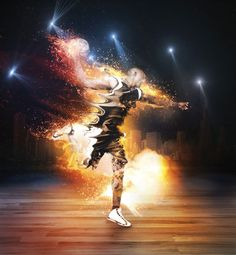 Members Area Tutorial: Create a Fiery, Dynamic Basketball Photo Manipulation Sports Advertising, Sports Marketing, Basketball Photos, Sports Photos, Basketball Equipment, Print Design, Graphic Design, Creative Web Design, Sports Graphics