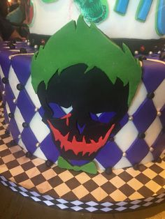 Suicide Squad party cake close-up picture of Joker skull